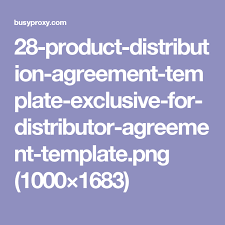 28 Product Distribution Agreement Template Exclusive For Distributor