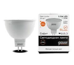 <b>Лампа Gauss LED Elementary</b> MR16 GU5.3 5.5W 430lm 3000К ...