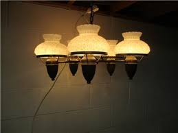 vintage copper chandelier 5 lamps quilted milk glass shades