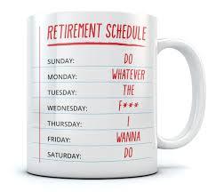 retirement schedule calendar mug