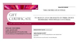 Gift Certificate Wording Avon Gift Certificate Example Beauty Wagon