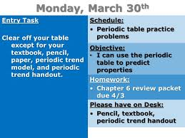 Monday, March 30 th Entry Task Clear off your table except for ...