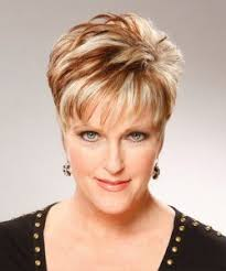 hairstyles for women over 60 rounded super short two tone red blonde