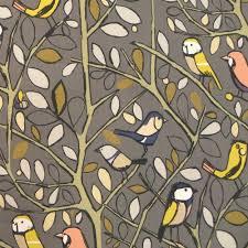Curtain Fabric Tweety Charcoal Cotton Bird Print Curtain Fabric Closs Hamblin