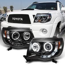Black 2005-2011 Toyota Tacoma LED Halo Projector Headlights ...