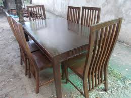 six seater sark stained mahogany dining table set