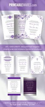 Purple And Silver Wedding Invitation Templates For Microsoft