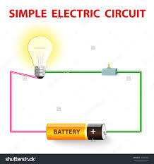 simple electric circuit electrical network switch stock vector electrical network switch light bulb wire and battery