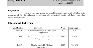 Resume For Freshers Classy MCOM ResumeCV Samples For Freshers Resume Samples Projects