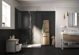 Bathroom:Dazzling Bathroom Design With Black Tile Shower Wall Annd Wooden  Vanity Idea Dazzling Bathroom