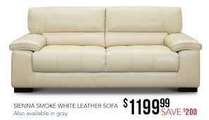 contemporary smoke white leather sofa sienna rc willey furniture