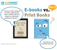 cartoon of ebook listing its benefits vs the print book
