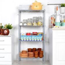 kitchen wire shelving. Silver/Black 4-Shelf Kitchen Wire Shelving Rack Storage Organizer Adjustable Height With Side H