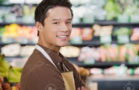 portrait of a supermarket s assistant stock photo picture and portrait of a supermarket s assistant stock photo 49849557