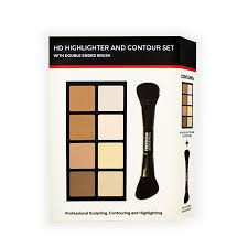 freedom makeup london hd highlighter contour set with double ended brush
