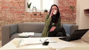 home office work. woman office work home