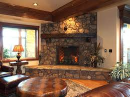 corner fireplace design ideas with stone designs attractive family room brown wall wood mantel round leathe