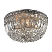 elk lighting crystal flushmount light in sunset silver finish