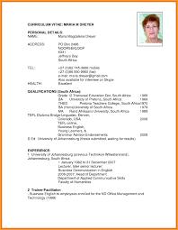 Cv Template Za Curriculum Vitae Template Resume Examples
