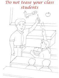 Teasing classmates coloring printable for kids