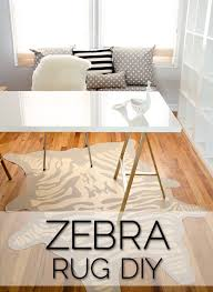 faux zebra rug diy vinyl gold leaf pen rugs