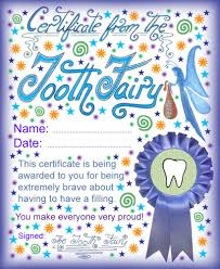Tooth Fairy Certificate Bravery Having A Filling Jpg 819 1000 I