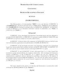 Partnership Agreement Between Companies Template Sample Mou Agreement Between Two Companies For