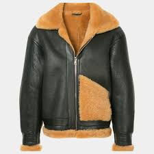 black leather jacket with wool
