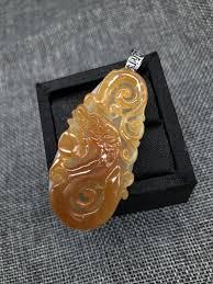 honey yellow dragon jadeite pendant
