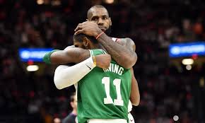 lebron kyrie. lebron and kyrie irving share a nice hug after cavaliers beat celtics in opener lebron y