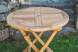 solid teak folding circular garden table 80cm