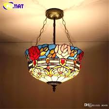antique stained glass chandelier hanging lamp pendant light mini black ceiling lights l