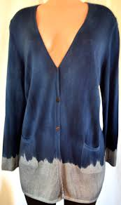 Avant Toi Color Block Blue Gray Cashmere Front Packets V Neck