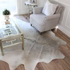 two tone light grey cowhide area floor rug eluxury home