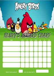 Childrens Sticker Chart Personalised Angry Birds Reward Chart Adding Photo Option Available