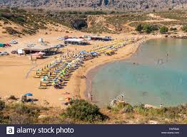 RHODES, GREECE - May 17, 2018: View of Agathi beach, one of the best  beaches in Rhodes. Greece Stock Photo - Alamy