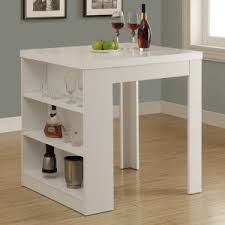 Monarch Clayton White Square Counter Height Table with Shelf Storage