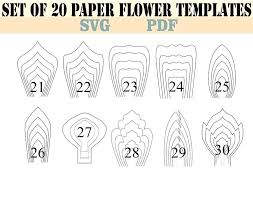 Giant Paper Flower Template Pdf Paper Flower Templates Big Paper Flower Templates Printable