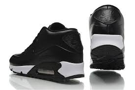 nike air max 90 top layer leather mens black white high shoes nike running shoes