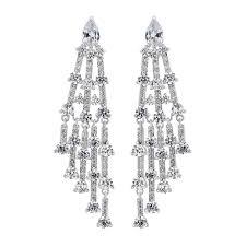 silver cubic zirconia chandelier statement earring