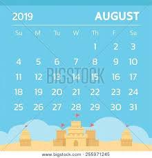August Theme Calendar Calendar August 2019 Vector Photo Free Trial Bigstock