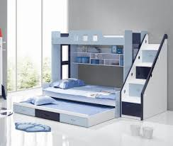 Bedroom:Modern Kids Bedroom Bunk Bed Idea With Metal Ladder And Safety  Guardrail Blue Bunk