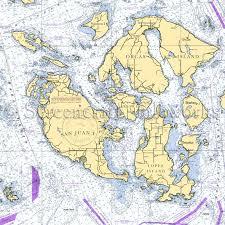 Washington Orcas Island Boundary Pass Nautical Chart Decor