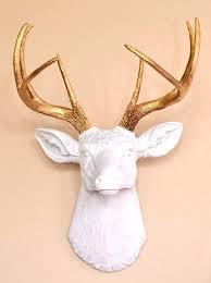 white deer head decor faux deer head wall decor white gold faux taxidermy on stag head