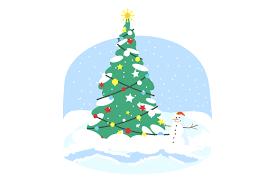 Christmas Tree Flat Vector Illustration Graphic By Bsd Studio Creative Fabrica