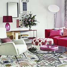 White living room with pink furniture