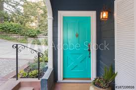 Turquoise front door Taupe Siding Turquoise Entry Door Front Door With Single Cylinder Entrance Electronic Handleset Adobe Stock Turquoise Entry Door Front Door With Single Cylinder Entrance