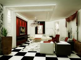 white floor tiles living room. Modern Luxury Living Room Ideas With Black And White Floor Tile Design Crystal Chandelier Using Red Accent Wall Color Tiles