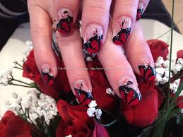 Red and black freehand nail art over acrylic nails | nails ...