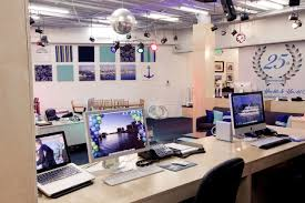 creative office space ideas. office creative space ideas modern sleek and idea with disco ball lamp colorful light mac computer inspiring